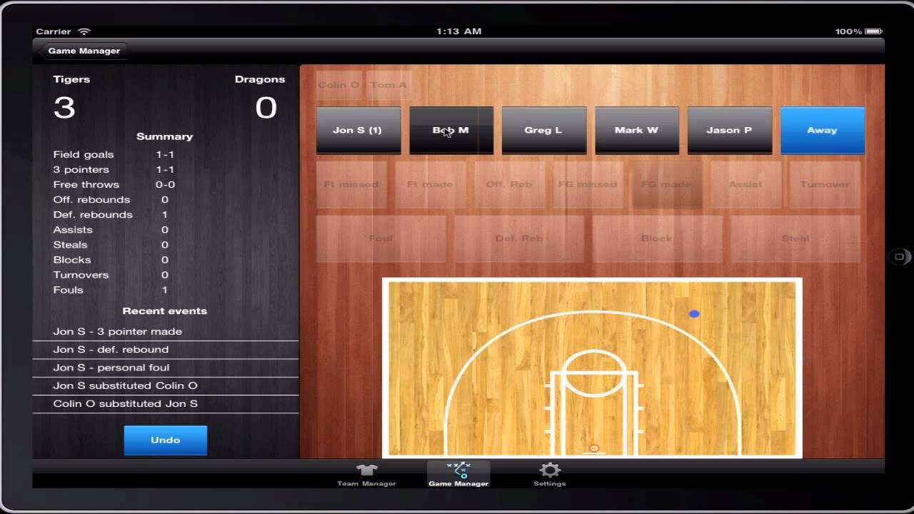 touchstats basketball stats tracking demo  ipad