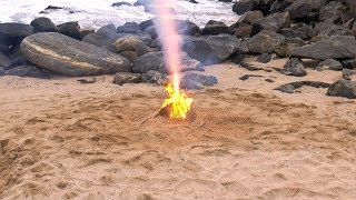 Match Chain Reaction & Volcano Eruption- Build a Volcano On The Beach- DIY Volcano Science Project