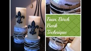 Faux Birch Wood Candle Holders Tutorial