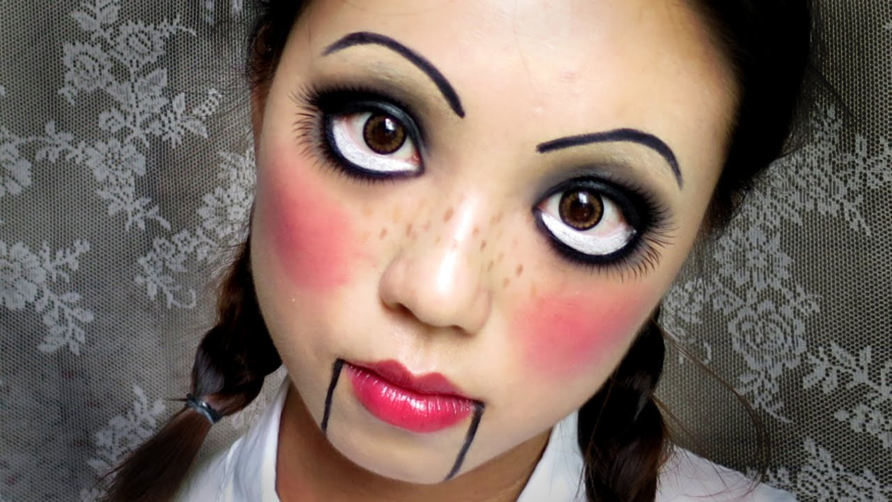 Easy Halloween Makeup: Creepy Cute Doll (中文字幕) - YouTube