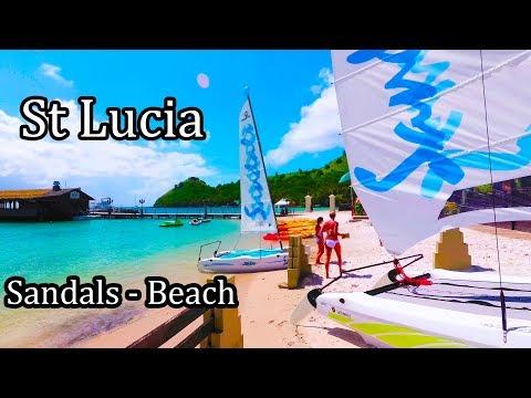St Lucia Island - Sandals Resort Beach Walk - 2017 (4K)