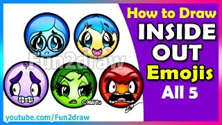 INSIDE OUT Emojis All 5 - Super CUTE - How to Draw Joy, Sadness, Anger, Disgust + Fear - Fun2draw