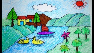 How to DRAW Scenery of mountain, Coloring Pages VIDEO FOR KIDS