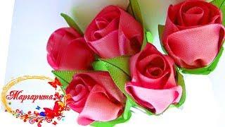 БУТОН РОЗЫ канзаши 🌹 Rose kanzashi
