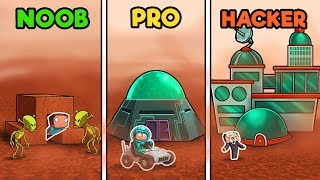 Minecraft - MARS BASE CHALLENGE! (NOOB vs PRO vs HACKER)