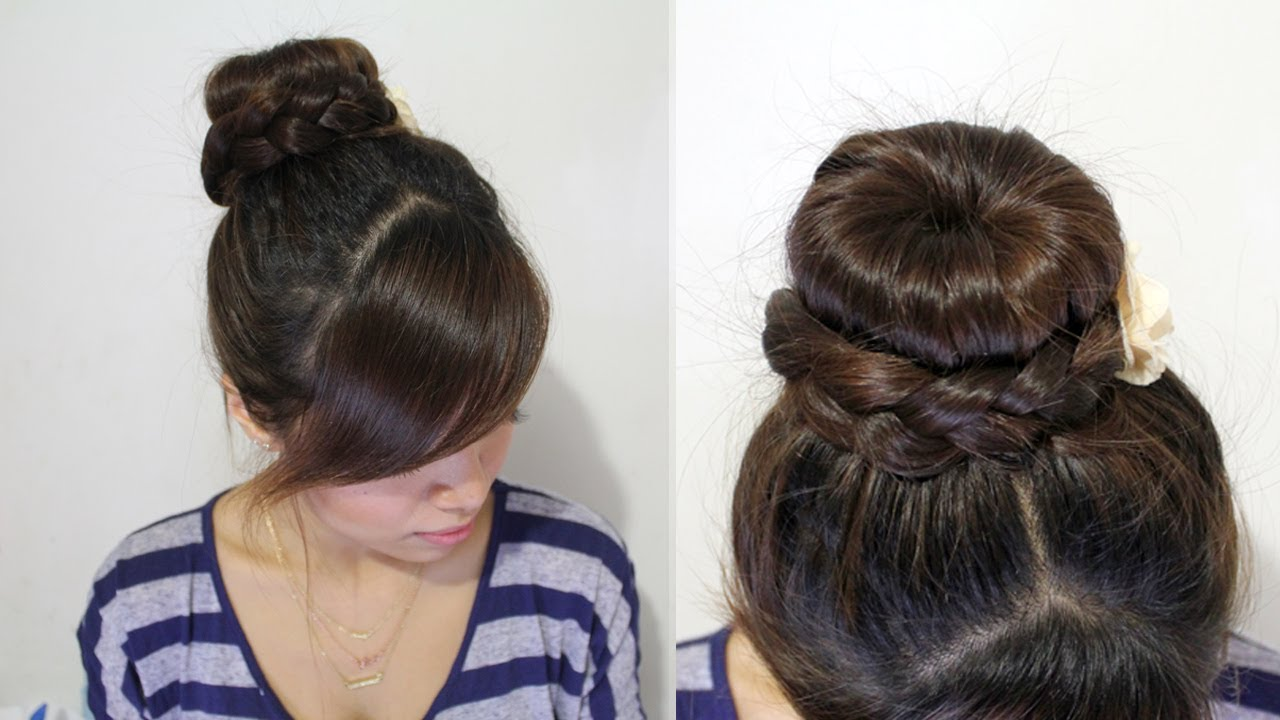 braided donut hair bun updo hairstyle for medium long hair tutorial