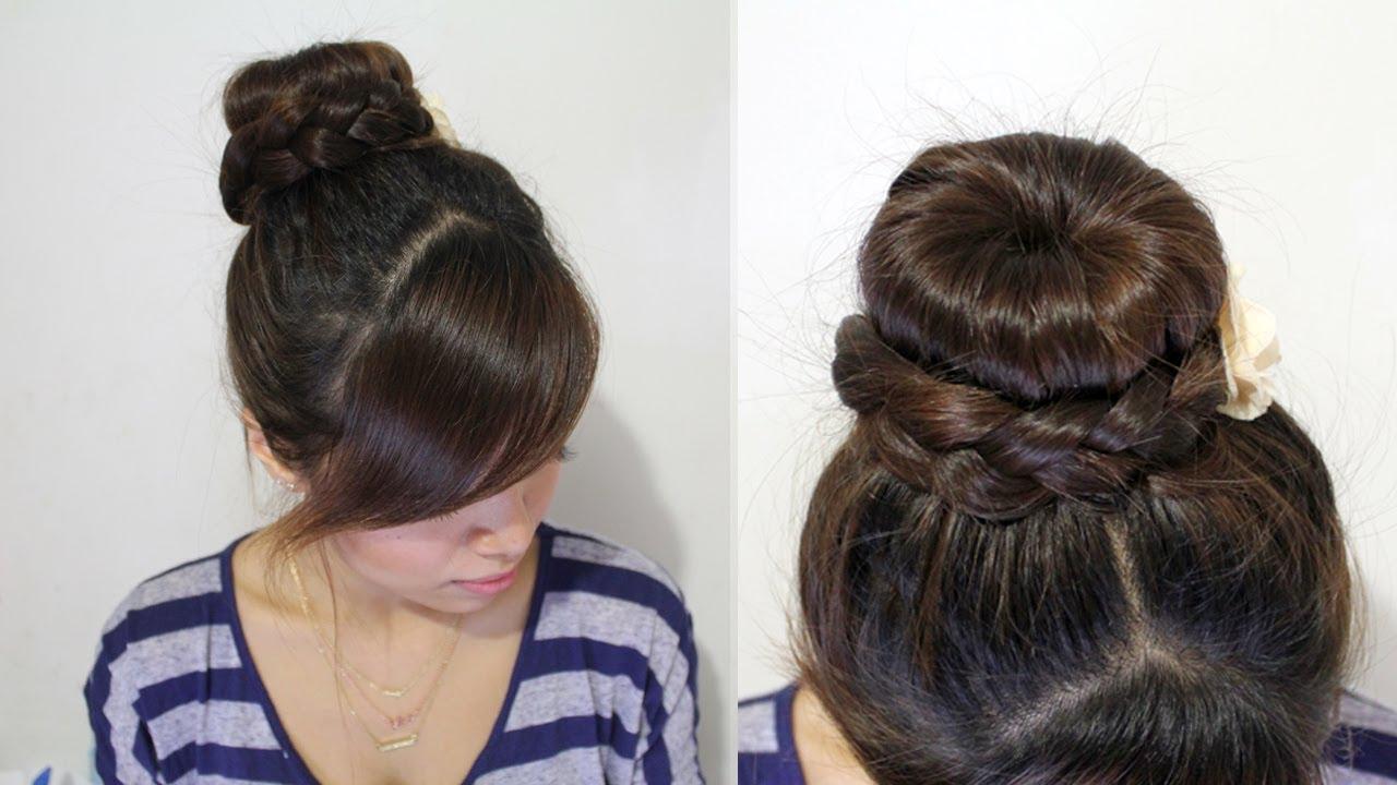 Braided Donut Hair Bun Updo Hairstyle For Medium Long Hair Tutorial