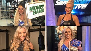 Charlotte Flair, Carmella, Natalya and Lana explore their options for the Mixed Match Challenge
