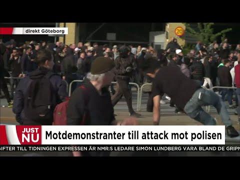 Motdemonstranter attackerar polisen - Nyheterna (TV4)
