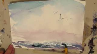 Watercolor painting. Light seascape.