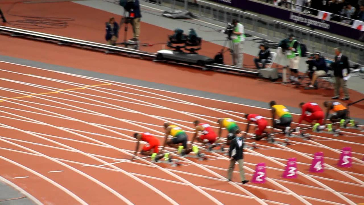 Men's 100m final, London 2012 Olympics. Usain Bolt wins ...