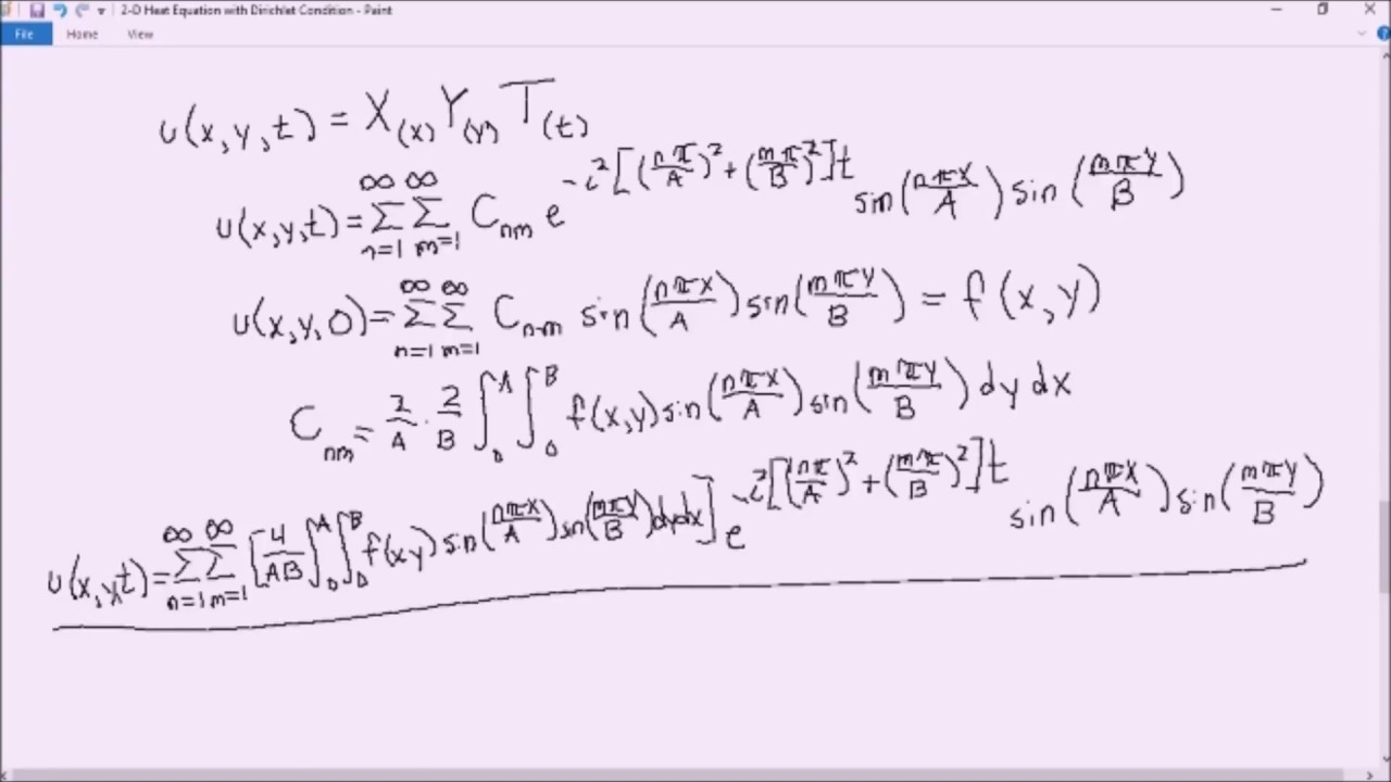 Solving a 2-Dimensional (2-D) Heat Equation with Dirichlet Conditions