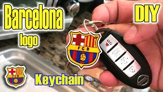 Drawing barcelona football club logo and creating a homemade professional looking keychain. diy project. i like using my skills to collaborate with o...