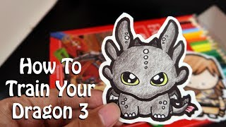 How to Draw Toothless - How to Train Your Dragon 3 | Mini Chibi | Cute, Easy, Simple & Fun Drawing