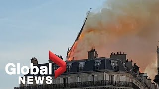 Notre Dame Cathedral fire: Bystander footage captures moment spire collapses