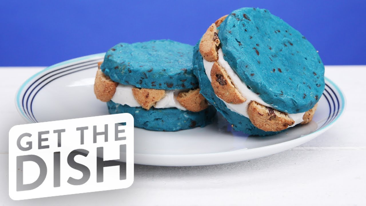 Cookie Monster Ice Cream Sandwich | Get the Dish - YouTube