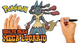 How to Draw Mega Lucario (Pokemon)- Kids Art Lesson