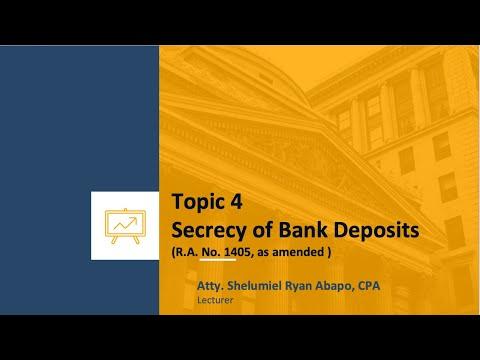 Topic 4 Secrecy of Bank Deposits