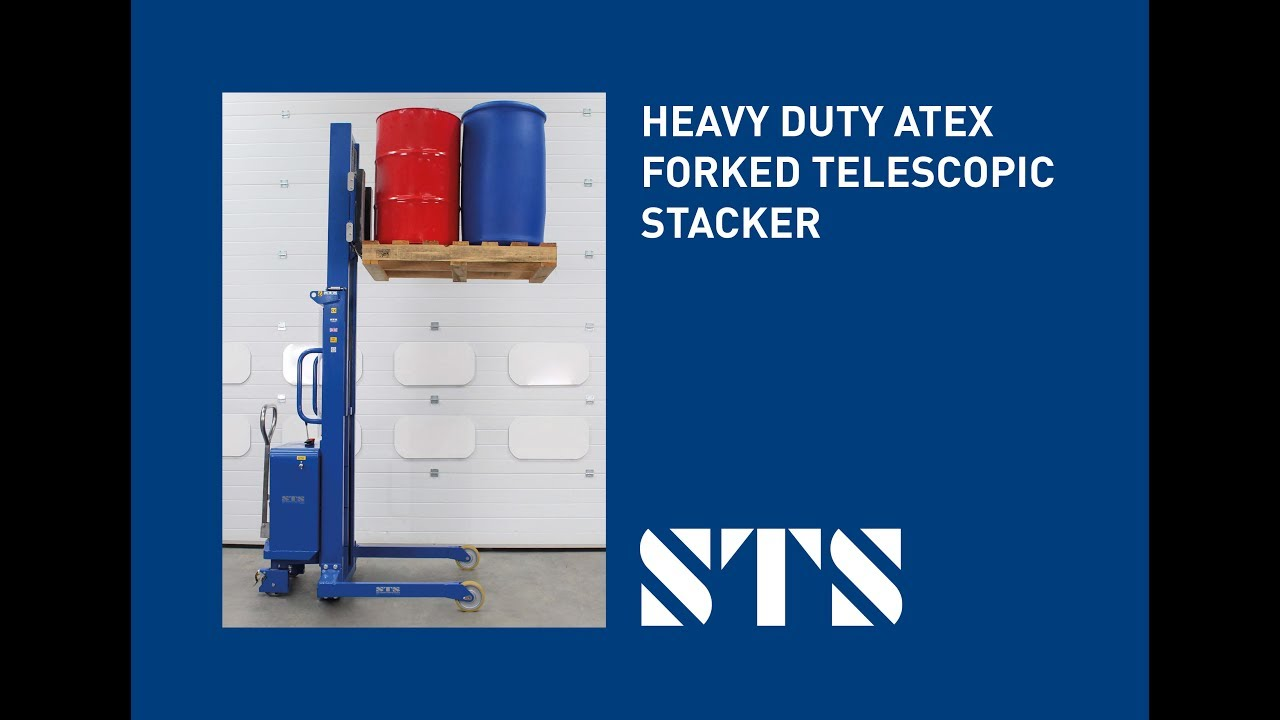 ATEX Certified Heavy-Duty Telescopic Pedestrian Stacker (Model: STP08-FAC01-Ex)