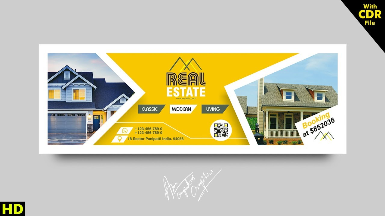 Coreldraw Tutorial How To Make Real Estate Banner 2018 Youtube