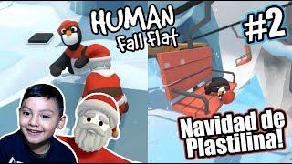 El Pinguino y Santa en el Mundo de Plastilina | Navidad Human Fall Flat | Juegos Karim Juega