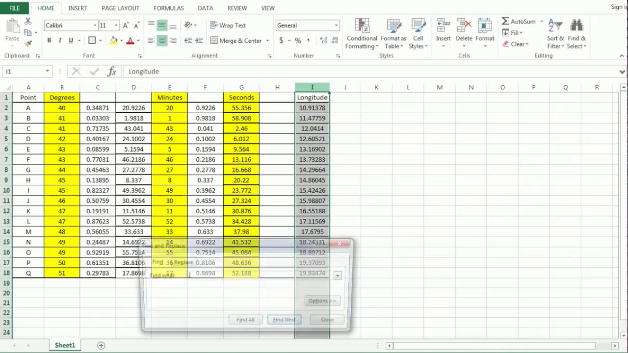 Decimal Degrees to Degrees Minutes Seconds coordinate conversion in Excel