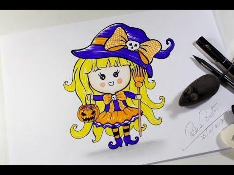 Como Desenhar Bruxinha Kawaii Halloween Passo A Passo Youtube