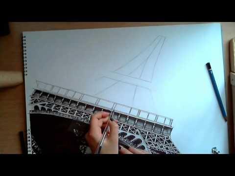 как нарисовать Эйфелевю башню