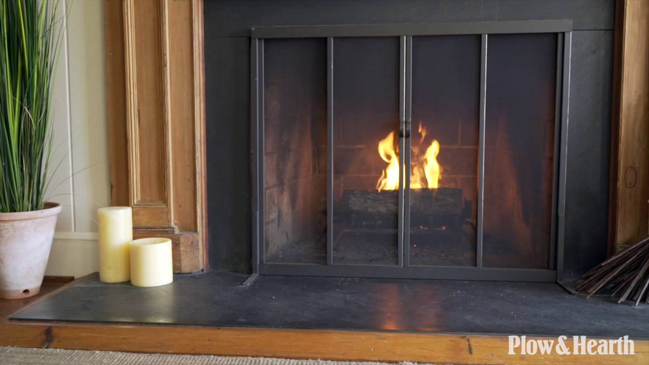 Purchase Product At: http://www.plowhearth.com/fire-screen-with-sliding-doors-38-x-31.htm Plow & Hearth Exclusive Our highly functional Fireplace Screen with...