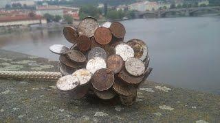 Magnet fishing - Finding coins, Prague Charles Bridge.