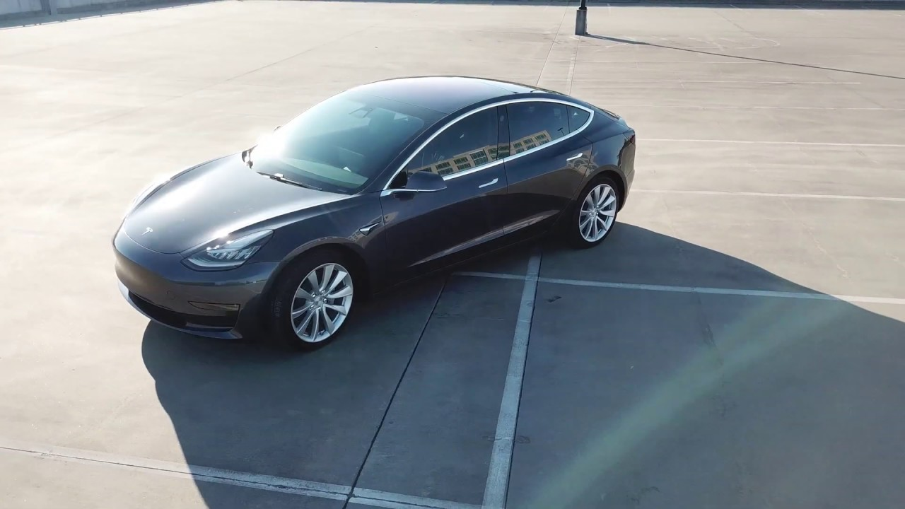 The Tesla Model 3 Awd In Midnight Silver Metallic Exterior 4k