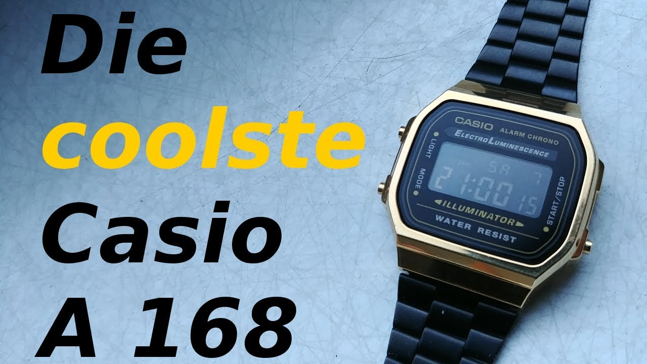 Die Casio A 168 Retro Uhr In Schwarz Gold Review Deutsch Youtube
