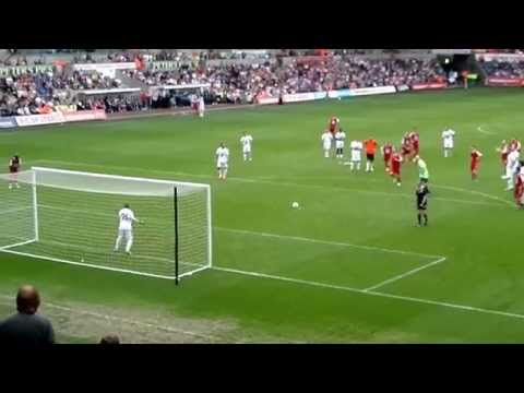Danny Dyer scoring a penalty against Ian Beale at the Liberty Stadium