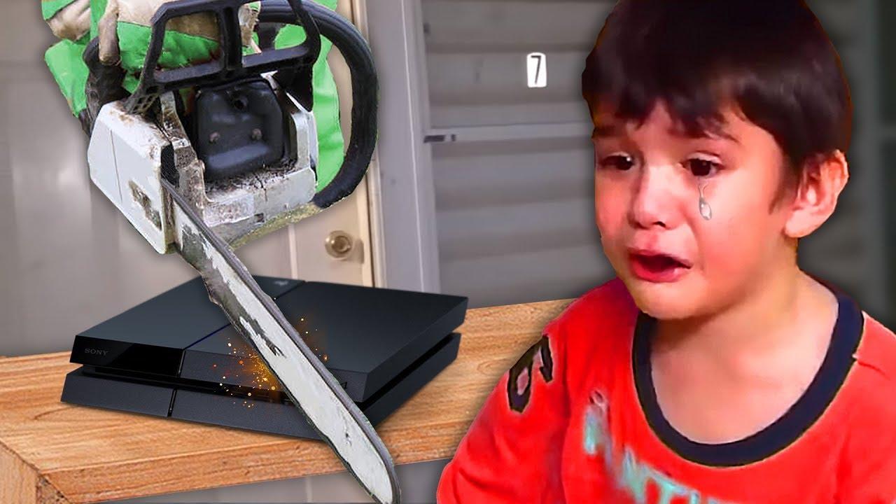 kid gets GROUNDED then dad destroys PS4   (fortnite)