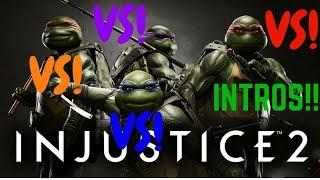 INJUSTICE 2 - INSANE! LEONARDO VS MICHELANGELO VS RAPHAEL VS DONATELLO ALL INTROS/DIALOGUES