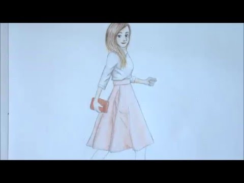 How To Draw A Girl In A Dress Spring Outfit Ideas Youtube