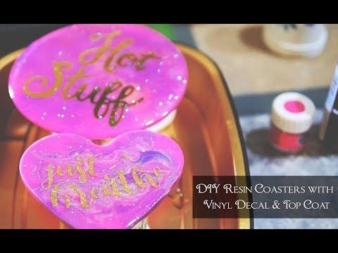 DIY Resin Coasters with Vinyl Decals & Top Coat