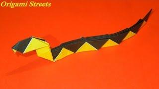 Как сделать змею из бумаги. Оригами змея