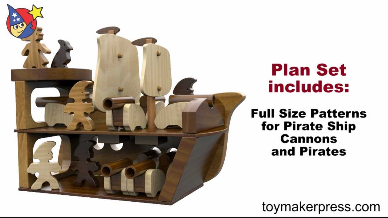 wood toy plans - jolly roger pirate ship, cannons and crew