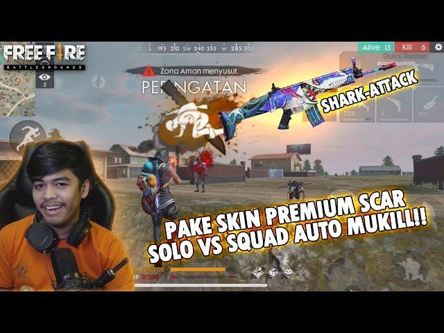 SOLO VS SQUAD PAKE SENJATA PREMIUM GRATIS?!! AUTO MUKILL - FREE FIRE BATTLEGROUND