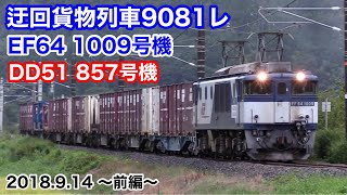 【JR貨物 迂回貨物列車9081レ 2018.9.14 ~前編~ 伯備線・山陰本線(EF64 1009号機・DD51 857号機)】