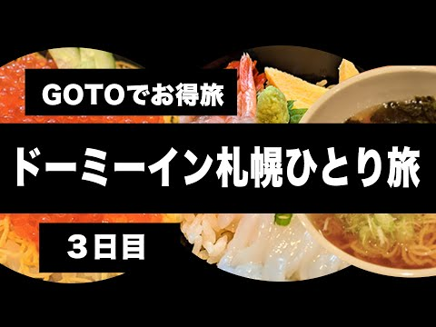 【GoToトラベル】と【GoToイート】を使い倒す激安北海道札幌旅行3日目( ドーミーイン dormy inn・スープカレー・ステーキ・パフェ)【北海道旅行・格安旅行・観光・グルメ・旅行動画】