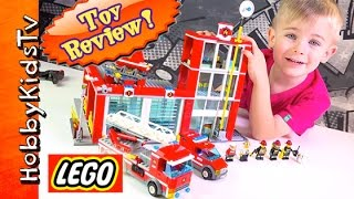 Lego Fire Station Toy Review [60004] Firetruck Helicopter By Hobbykidstv