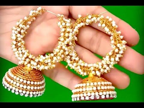 How to make chandbali silk thread earrings at home | Designer bridal earrings making