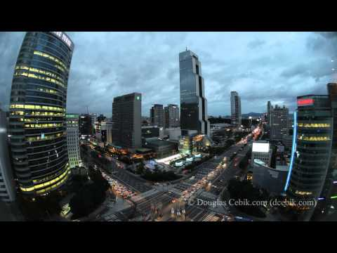Seoul Korea - Gangnam financial district Skyline Time Lapse - in Ultra HD (4K resolution)