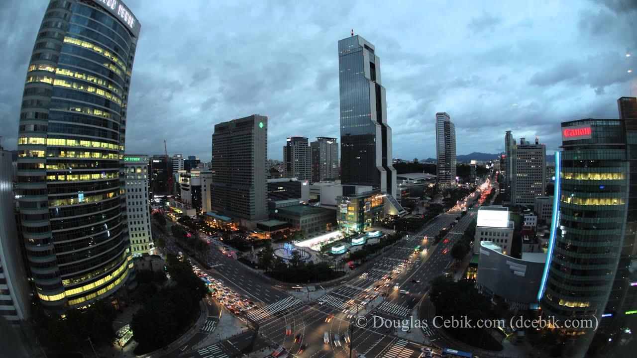 Seoul Korea - Gangnam financial district Skyline Time ...