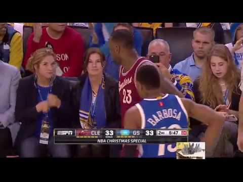 bec21589f4a8 LeBron James Cry Baby Caught Warriors Fan Taunting Cleveland Cavaliers NBA  Christmas Day Game HD
