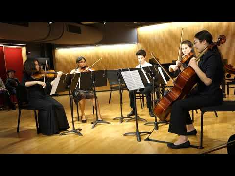 Raina playing first violin in Mozart's clarinet quintet in A Major