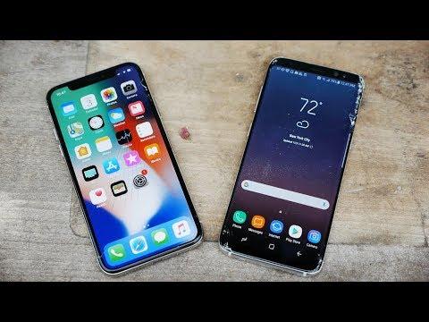 iPhone X vs Samsung Galaxy S8 Drop Test!