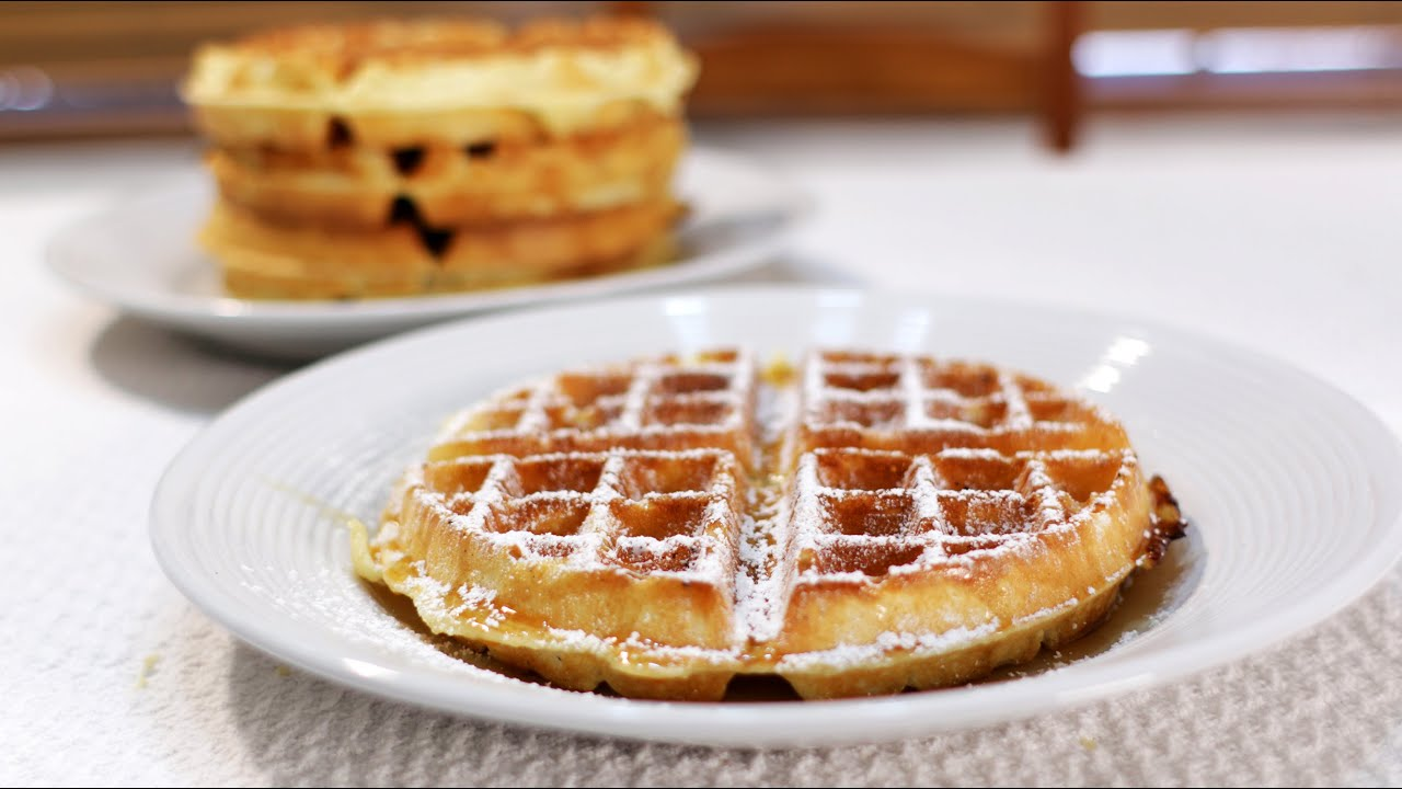 How to Make Classic Restaurant Style Belgian Waffles - YouTube
